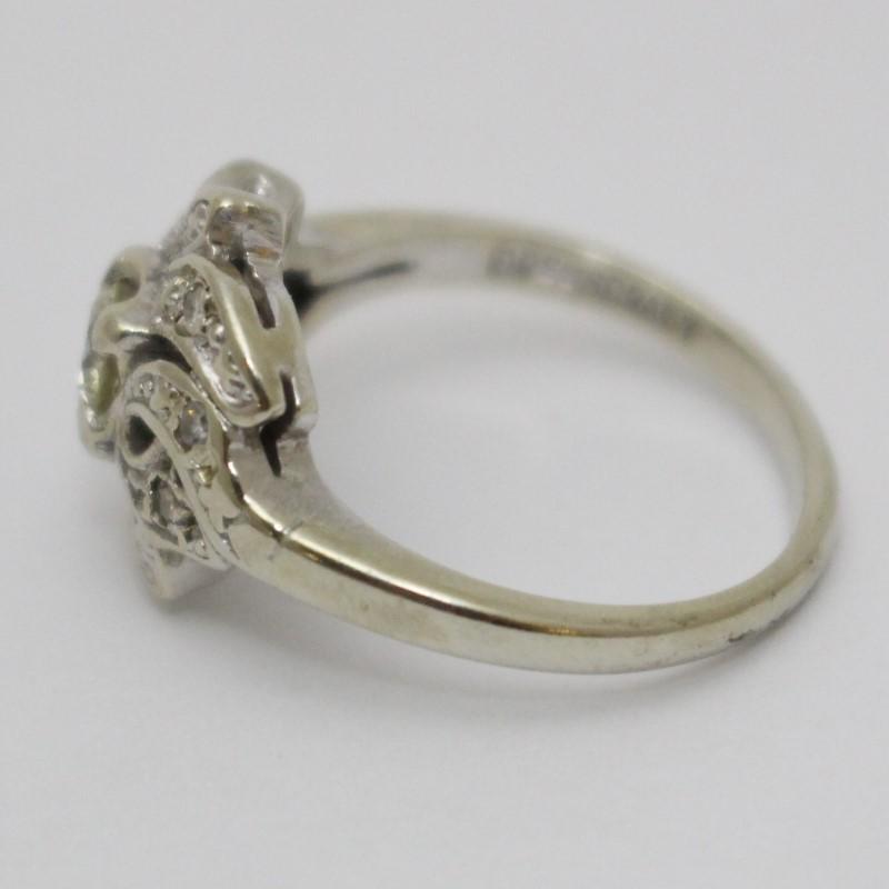 Lady's Diamond Fashion Ring 7 Diamonds .26 Carat T.W. 14K White Gold 3.96g