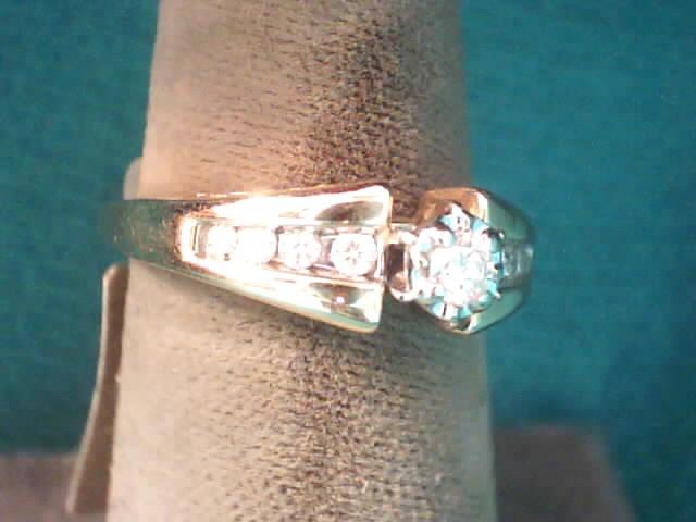 Lady's Diamond Engagement Ring 9 Diamonds .21 Carat T.W. 14K Yellow Gold 2.6dwt