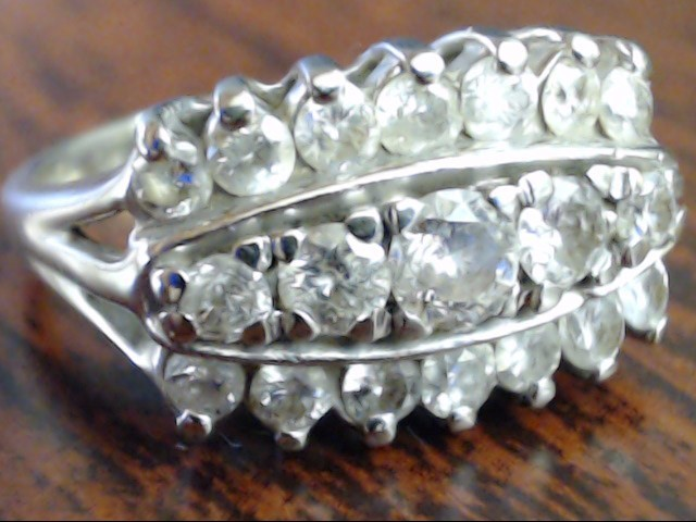 VINTAGE DIAMOND ANNIVERS WEDDING RING SOLID 14K WHITE GOLD SIZE 6.5
