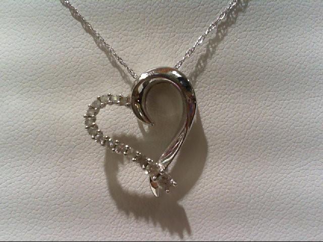 Gold-Multi-Diamond Pendant 14 Diamonds .20 Carat T.W. 10K White Gold 1.9g