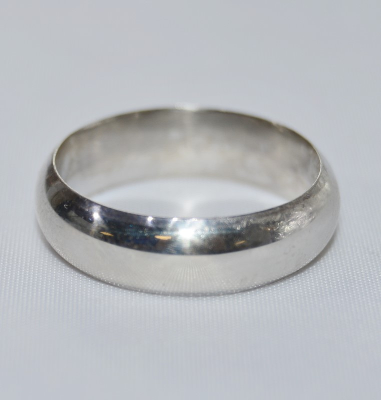 Sterling Silver Plain Wedding Band Ring Size 10