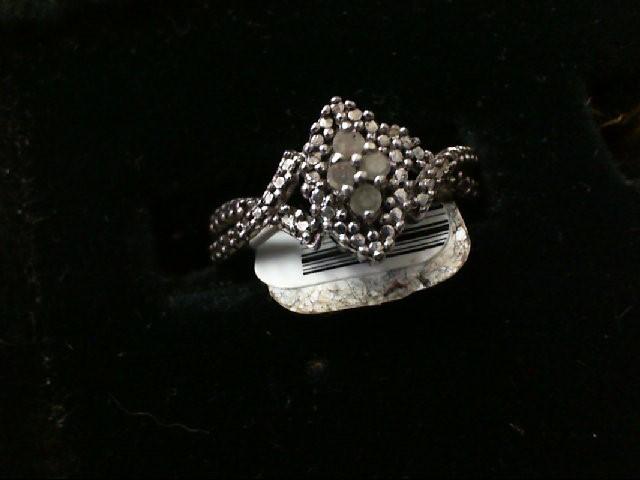 Lady's Silver-Diamond Ring 13 Diamonds .13 Carat T.W. 925 Silver 4.2g