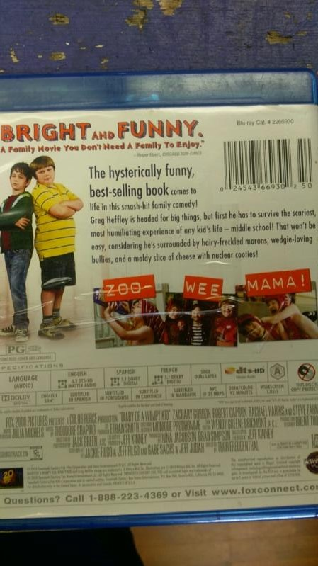DIARY OF A WIMPY KID BLUE RAY MOVIE