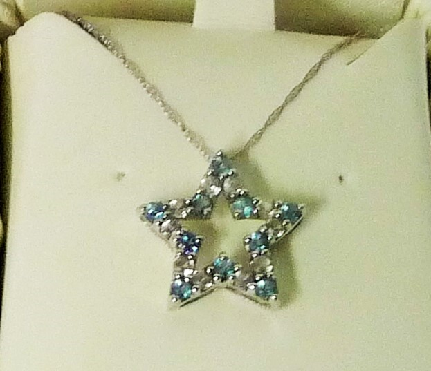 Synthetic Blue Topaz Stone Necklace 10K White Gold 1.78g