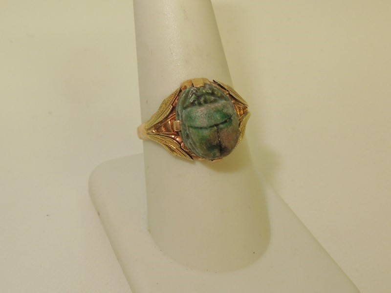 Synthetic Jade Lady's Stone Ring 10K Yellow Gold 2.4g
