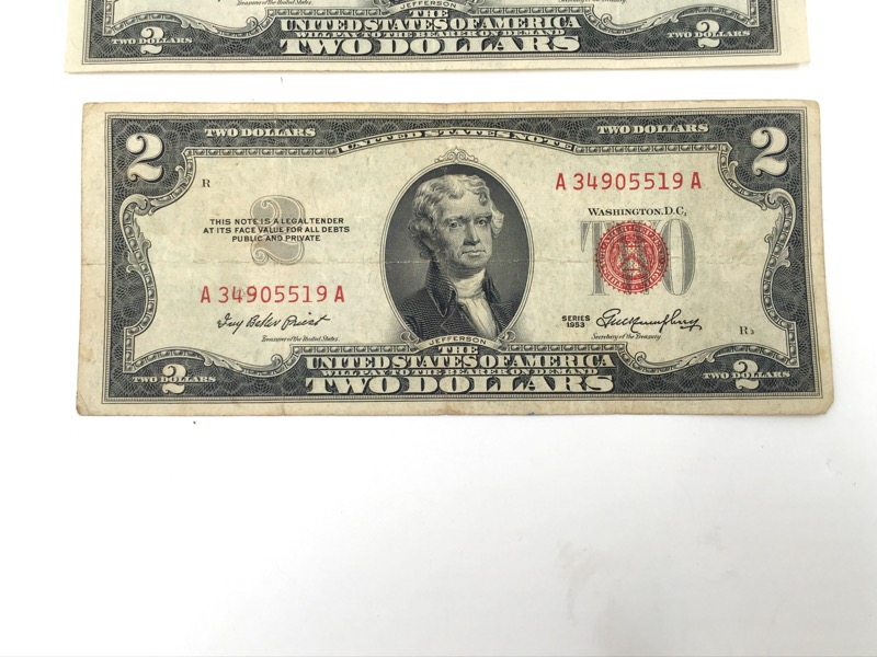 1953 $2 Red Seal Notes - Double A Serial - Lot of Three
