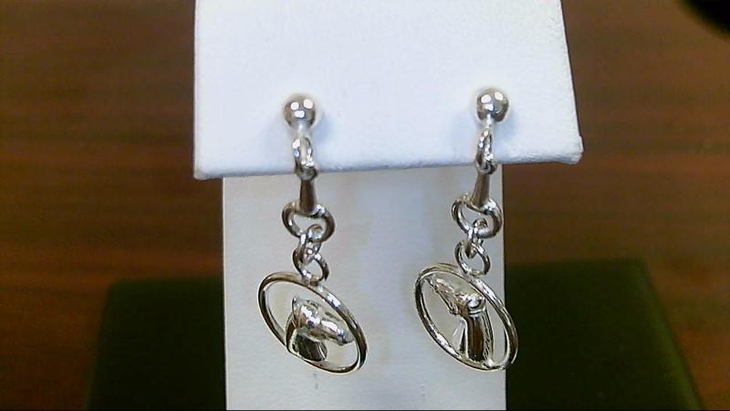 Silver horse dangle Earrings 925 Silver 3.4g