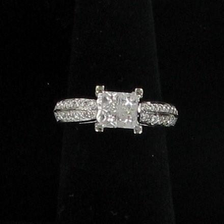 Lady's Diamond Engagement Ring 36 Diamonds .96 Carat T.W. 14K White Gold 3dwt