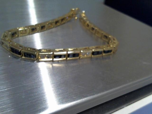 Synthetic Sapphire Gold-Diamond & Stone Bracelet 18 Diamonds 1.80 Carat T.W.