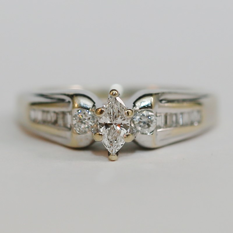 14K W/G Marquise, Round and Baguette Cut Diamond Engagment Ring Size 8.5