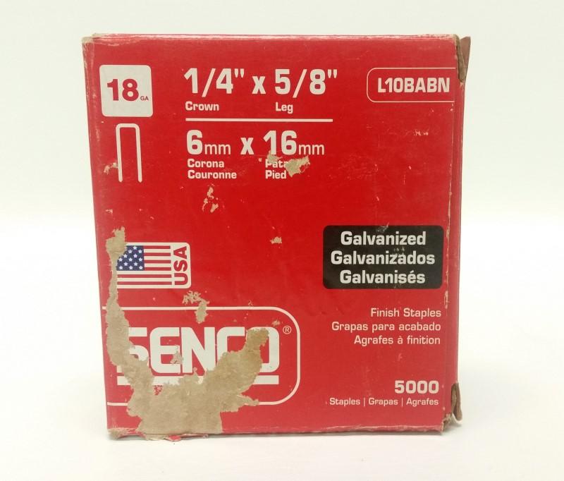 "Senco L10BABN 18Ga 1/4"" x 5/8"" Galvanized Finish Staples USA Made"