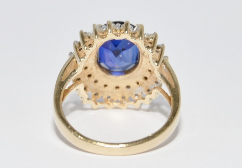 10K Yellow Gold Cathedral Set Created Sapphire & Diamond Cluster Ring sz 7
