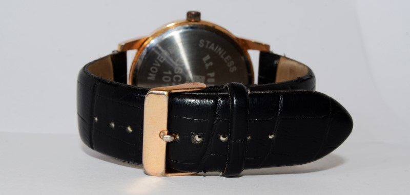 U.S. Polo Association Stainless Face/Bezel Leather Band Watch USC2178