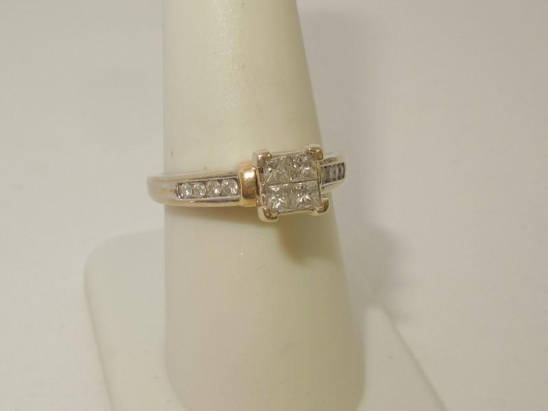 Lady's Gold-Diamond Anniversary Ring 12 Diamonds .64 Carat T.W. 10K 2 Tone Gold