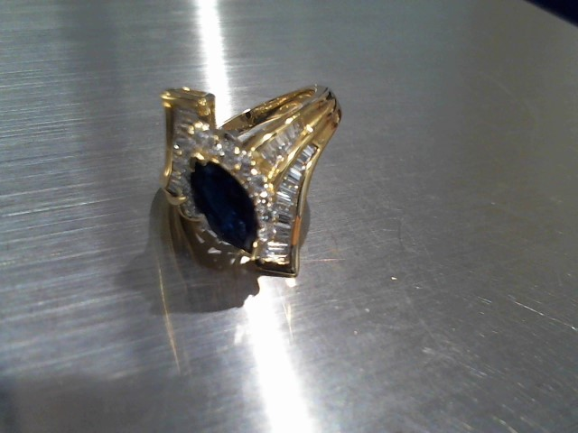 Synthetic Sapphire Lady's Stone & Diamond Ring 52 Diamonds 1.40 Carat T.W.