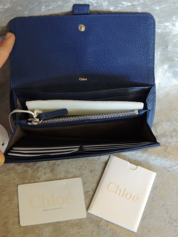 Chloe Aurore Leather Flap Wallet Blue Pebbled Leather Zip Padlock