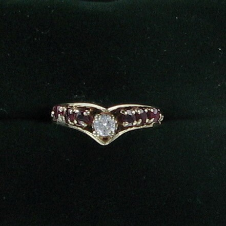 Synthetic Ruby Lady's Stone & Diamond Ring .13 CT. 10K Yellow Gold 2.5dwt