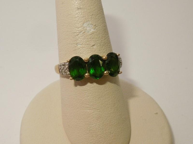 Synthetic Chrome Tourmaline Lady's Stone & Diamond Ring