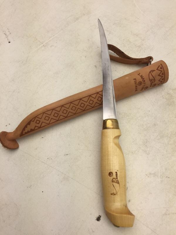 J Marttiini Knife Hunting Fishing Fillet Embossed Leather Sheath Finland Rapala