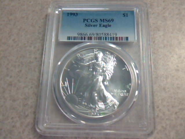 1993 $1 Silver Eagle PCGS MS69