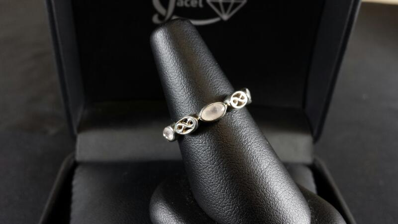 Oval Fancy Cut Cubic Zirconia Lady's Silver & Stone Ring 925