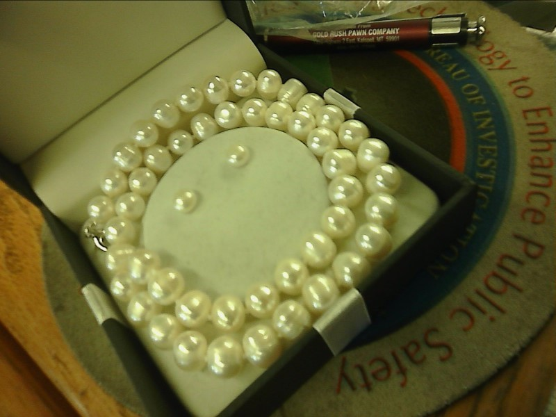 Synthetic Pearl Stone Necklace 925 Silver 32.92dwt