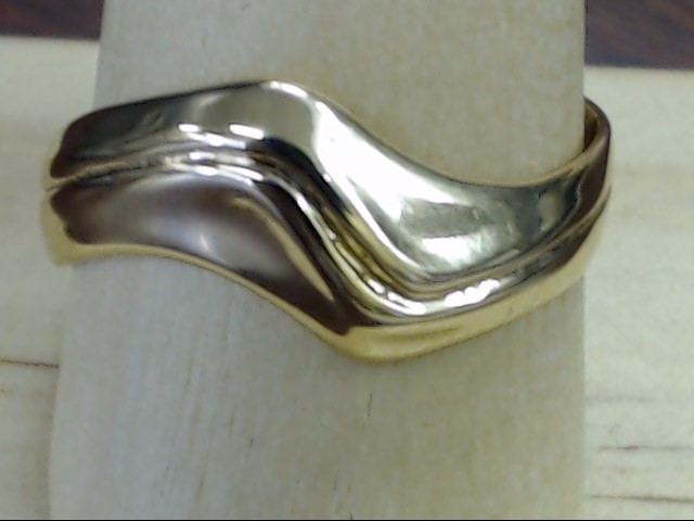 VINTAGE SOLID 14K YELLOW GOLD RING BAND WAVE UNIIQUE MENS SIZE 10