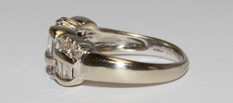 Lady's Gold-Diamond Anniversary Ring 24 Diamonds .48 Carat T.W. 14K White Gold