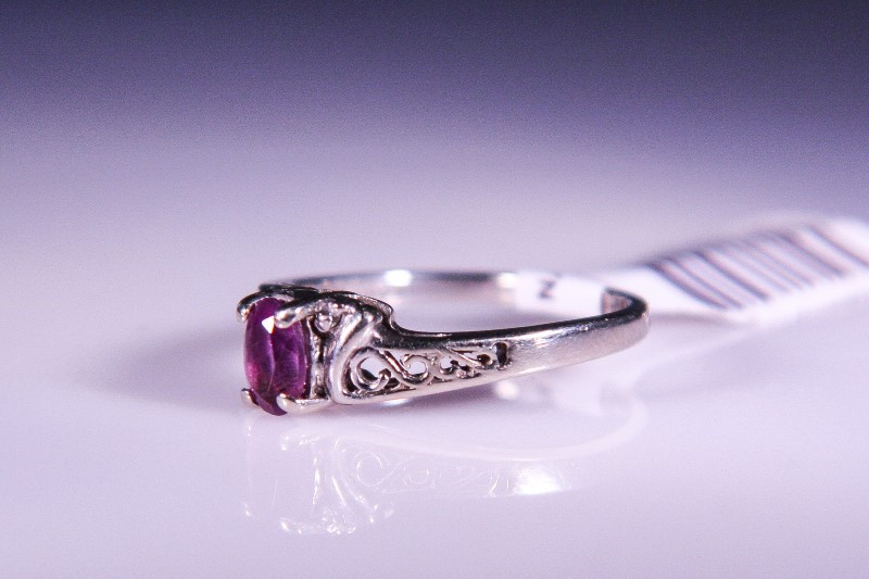 Synthetic Amethyst Lady's Stone Ring 10K White Gold 2.8g Size:5.8