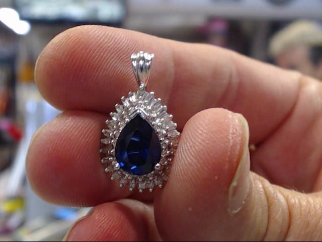 Synthetic Sapphire Gold-Diamond & Stone Pendant 48 Diamonds .48 Carat T.W.
