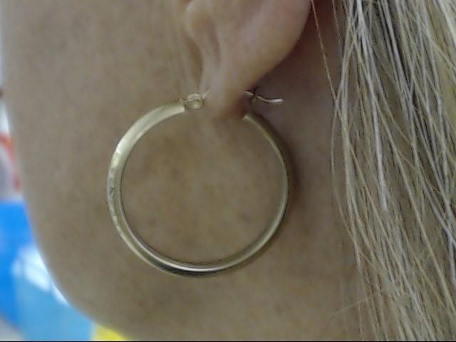 """VINTAGE 1"""" BRUSHED DESIGN CIRCLE HOOP EARRINGS  REAL 10K GOLD 2.5g"""