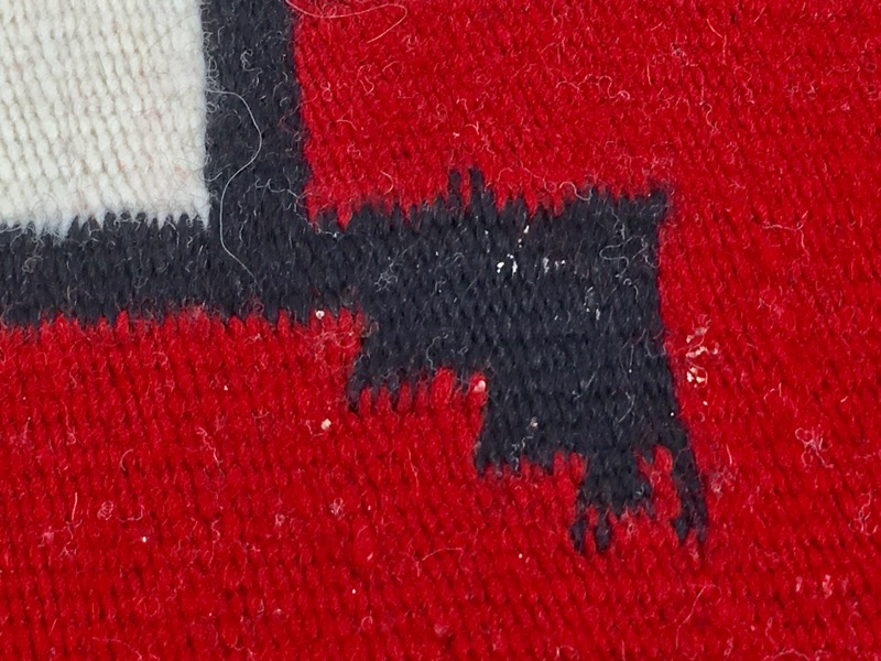 "AMERICAN SOUTHWESTERN HAND MADE RUG. BLACK, GRAY, RED & WHITE 34X25"""