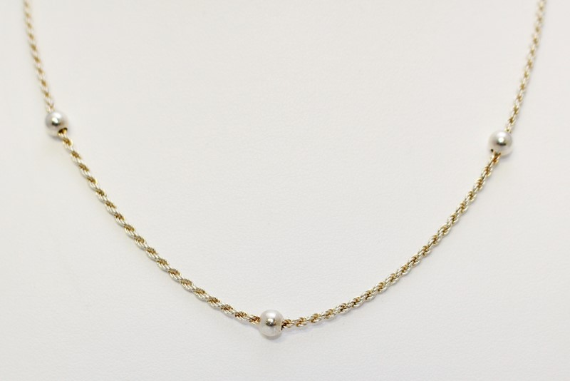 """16"""" Sterling Silver Beaded Ball Rope Chain Necklace"""