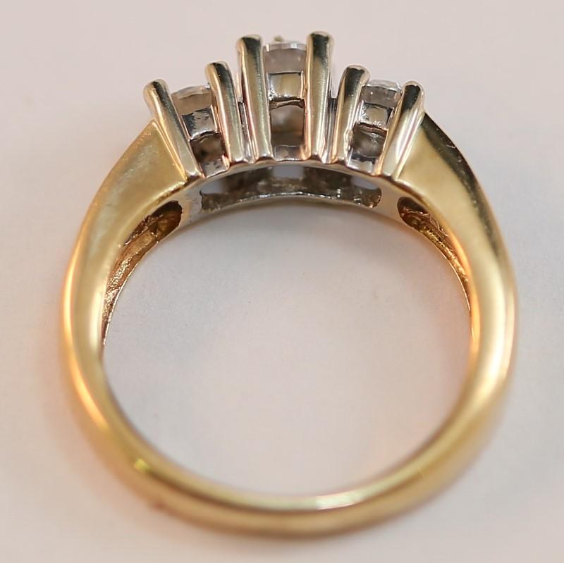14K Y/G Bead & Channel Set Round Brilliant Diamond Ring Size 5.8