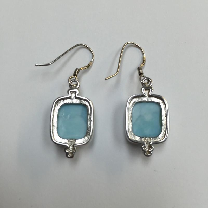 Blue Stone Silver-Stone Earrings 925 Silver 3.6dwt