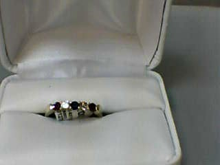 Ruby Lady's Stone & Diamond Ring 2 Diamonds .26 Carat T.W. 14K Yellow Gold