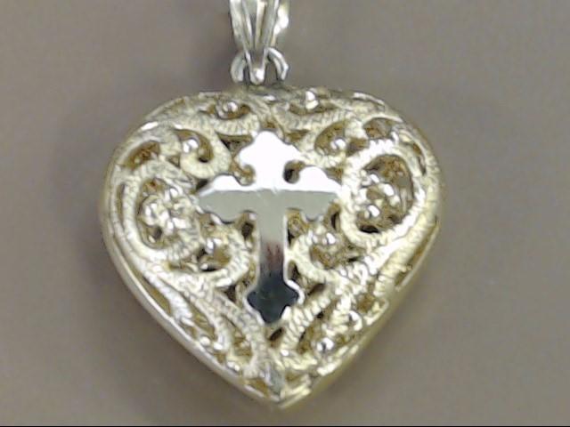 VINTAGE CROSS HEART FILIGREE PUFF PENDANT CHARM SOLID 14K GOLD JESUS