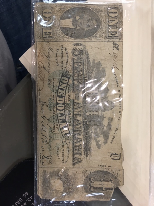 STATE OF ALABAMA ONE DOLLAR BILL