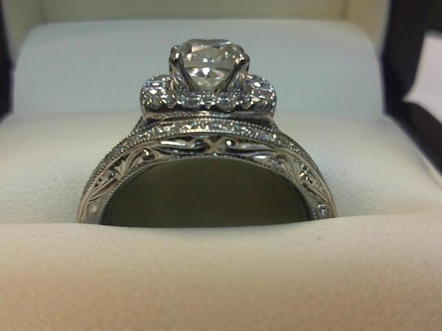 Lady's Diamond Engagement Ring 65 Diamonds 2.11 Carat T.W. 14K White Gold