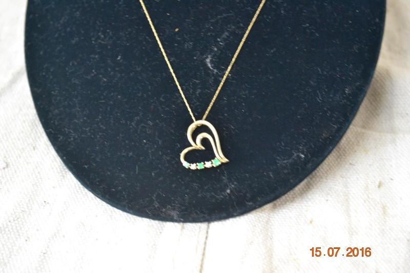 Green Stone Diamond & Stone Necklace 2 Diamonds .02 Carat T.W. 10K Yellow Gold