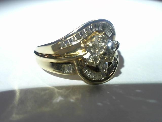 Lady's Diamond Cluster Ring 7 Diamonds .35 Carat T.W. 10K Yellow Gold 4.8g