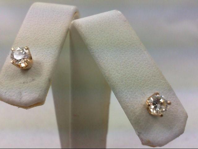 Gold-Diamond Earrings 2 Diamonds .50 Carat T.W. 14K Yellow Gold 1.1g