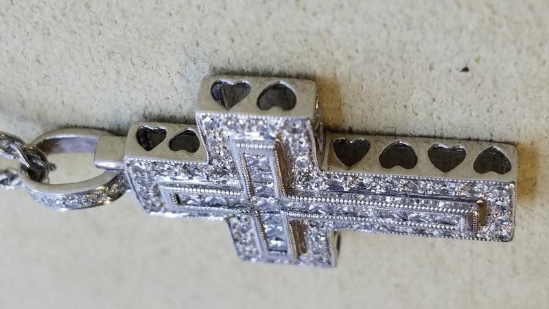 "16"" Diamond Necklace 66 Diamonds .585 Carat T.W. 18K White Gold 13g"