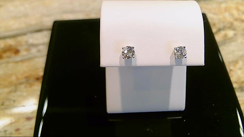14k white gold apx. 3/4cttw round diamond stud earrings