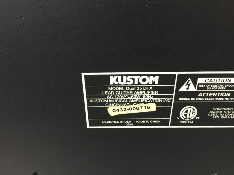 "KUSTOM DUAL 35 DFX 30W 1x10"" 2-CH Guitar Combo with Digital Effects"