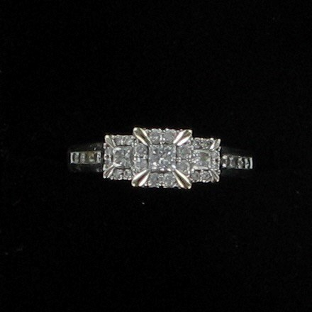 Lady's Diamond Engagement Ring 31 Diamonds .64 Carat T.W. 14K White Gold 2.9dwt