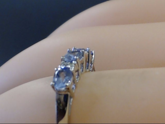VINTAGE OVAL AMETHYST DIAMOND ANNIVER RING BAND SOLID 10K WHITE GOLD