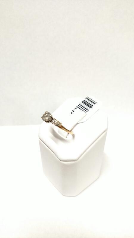 Lady's Diamond Engagement Ring 5 Diamonds .58 Carat T.W. 14K 2 Tone Gold 1.8g