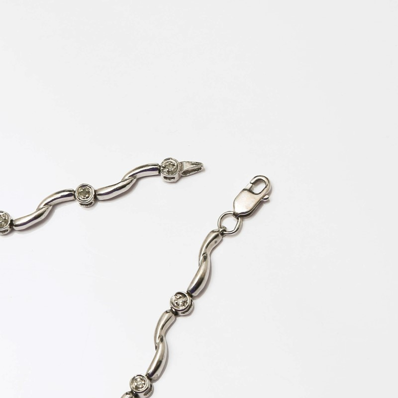 "7.5"" 10K White Gold Round Brilliant Diamond Bracelet"