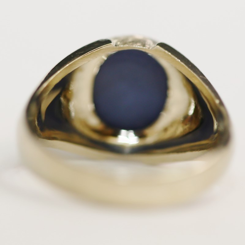14K White Gold Oval Cut Star Sapphire Ring Size 11.5